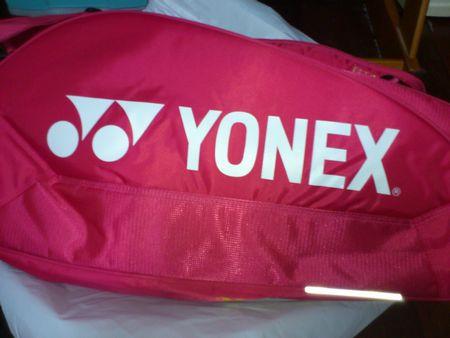 ピンクのラケットバッグ