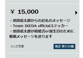 15000円の支援特典